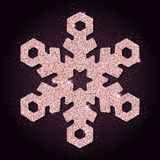 Pink golden glitter ideal snowflake. Luxurious christmas design element, vector illustration Royalty Free Stock Images