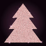 Pink golden glitter lovely christmas tree. Royalty Free Stock Photo
