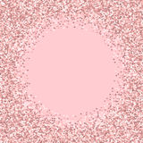 Pink golden glitter made of hearts. Bordered frame on pale_pink valentine background. Vector illustration Royalty Free Stock Image