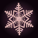 Pink golden glitter magnificent snowflake. Royalty Free Stock Image
