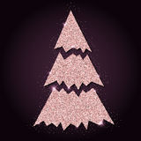 Pink golden glitter marvelous christmas tree. Royalty Free Stock Images