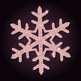Pink golden glitter marvelous snowflake. Royalty Free Stock Images
