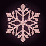 Pink golden glitter neat snowflake. Royalty Free Stock Images