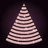 Pink golden glitter pleasing christmas tree. Luxurious christmas design element, vector illustration Stock Photography