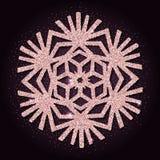 Pink golden glitter pleasing snowflake. Luxurious christmas design element, vector illustration Stock Photo