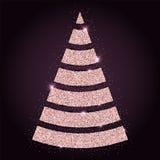 Pink golden glitter splendid christmas tree. Stock Image