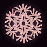 Pink golden glitter stunning snowflake. Royalty Free Stock Photography