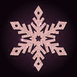 Pink golden glitter superb snowflake. Luxurious christmas design element, vector illustration Royalty Free Stock Image