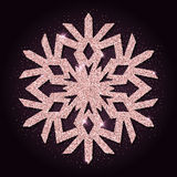 Pink golden glitter unique snowflake. Stock Photos