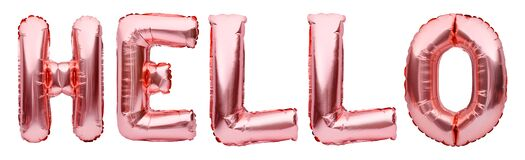 Pink golden word HELLO made of inflatable balloons isolated on white background. Rose gold foil balloon letters, party