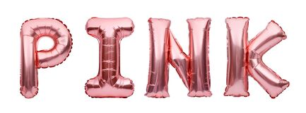 Pink golden word PINK made of inflatable balloons isolated on white background. Rose gold foil balloon letters. Fashion and