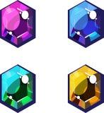 pink gröna juvlar för blue fyra yellow vektor illustrationer