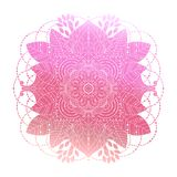 Pink floral mandala vector. Pink gradient coloring mandala, vibrant floral ornament in boho style, asian arabesque art, isolated element, vector illustration vector illustration