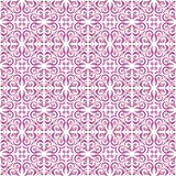 Pink gradient on white ornamental scroll seamless repeat pattern background. Two colour ornamental scroll with dagger fleur de lis seamless repeat pattern Stock Photography