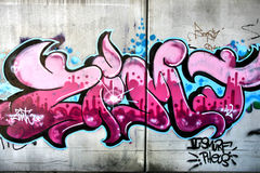Pink graffiti. In Salzburg, Austria. Urban art or vandalism Royalty Free Stock Photos