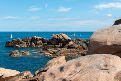 Pink granite cliffs in Saint-Guirec (France) Royalty Free Stock Photos