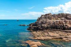 Pink granite cliffs in Saint-Guirec (France) Stock Images