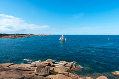 Pink granite cliffs in Saint-Guirec (France) Royalty Free Stock Photo