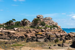 Pink granite cliffs in Saint-Guirec (France) Stock Image