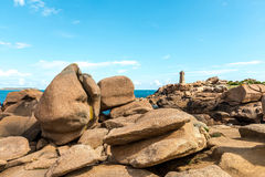 Pink granite cliffs in Saint-Guirec (France) Stock Photography