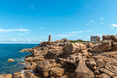Pink granite cliffs in Saint-Guirec (France) Stock Photo