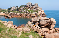 Pink granite coast Royalty Free Stock Images