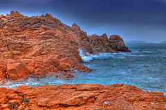 Pink Granite Coast. Beautiful landscape in Brittany in the north-west of France,The place is called Pink Granite Coast adn it is one of the outstandig coastlines Stock Photography