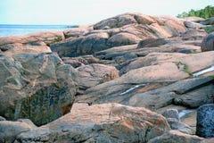 Pink granite coast at the Baltic sea. Near Oskarshamn, Sweden Royalty Free Stock Image