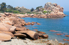 Pink granite coast in Brittany Stock Images