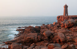 Pink granite coast in Brittany, France royalty free stock photos