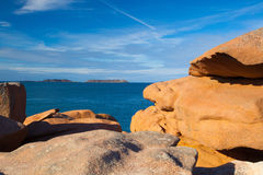 Pink Granite Coast in Brittany , France. Royalty Free Stock Photo