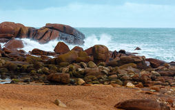 The Pink Granite Coast (Brittany, France). Stock Image