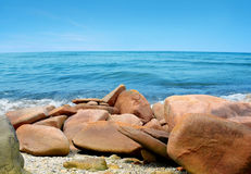 Pink Granite Coast in Brittany, France Royalty Free Stock Photo