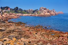 Pink granite coast in Brittany, France Stock Photography