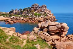 Pink granite coast in Brittany, France Royalty Free Stock Image
