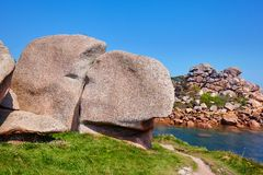 Pink granite coast in Brittany, France Royalty Free Stock Images