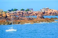 Pink Granite Coast, Brittany, France Royalty Free Stock Photos