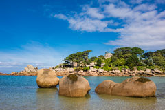 Pink Granite Coast in Brittany near Ploumanach, France.  Stock Photography