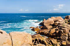 Pink Granite Coast in Brittany Stock Photos
