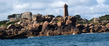 Pink granite coast in Brittany. Royalty Free Stock Photography