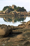Pink granite coast and castle Costaeres Stock Photography