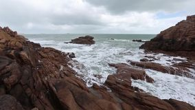 The Pink Granite Coast Cloudy View (France). stock video footage