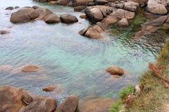 Pink granite coast Royalty Free Stock Photo