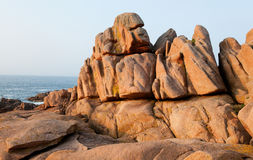 Pink granite coast in France Stock Photos