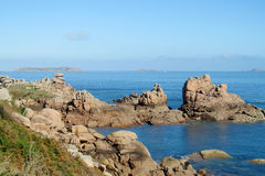 Pink Granite Coast in France royalty free stock photography