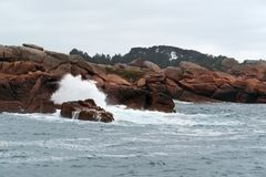 Pink granite coast near Seven Islands Stock Photo