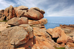 Pink granite coast Ploumanach Royalty Free Stock Photography