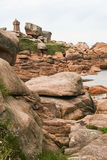 The pink granite coast , at Ploumanach,  Brittany, France Royalty Free Stock Photos