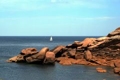 The pink granite coast , at Ploumanach,  Brittany, France Royalty Free Stock Photography