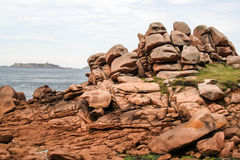The pink granite coast , at Ploumanach,  Brittany, France Stock Photography